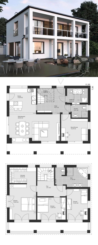 Moderne bauhaus stadtvilla grundriss mit flachdach for Grundriss einfamilienhaus 2 vollgeschosse