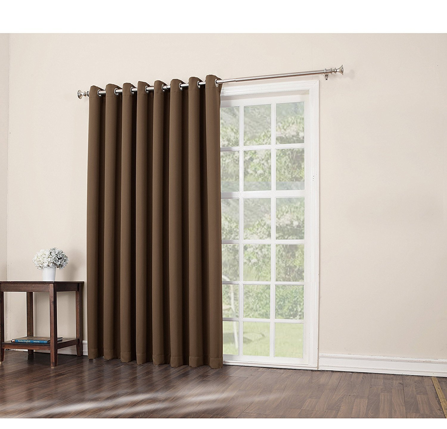 inch barley solid color sliding door curtain dark brown sliding