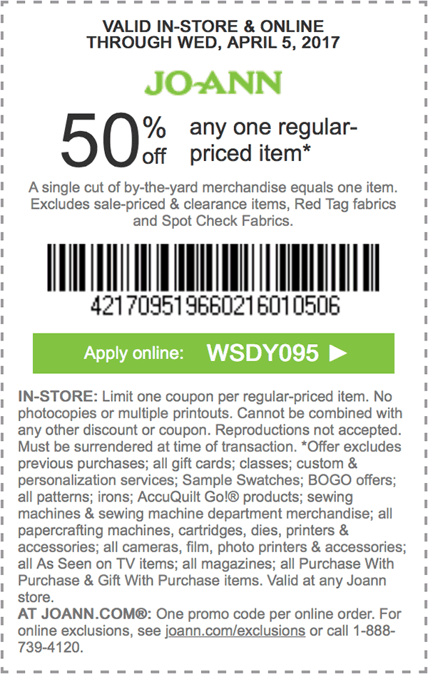 50 off any one regularpriced item. APPLY ONLINE WSDY095