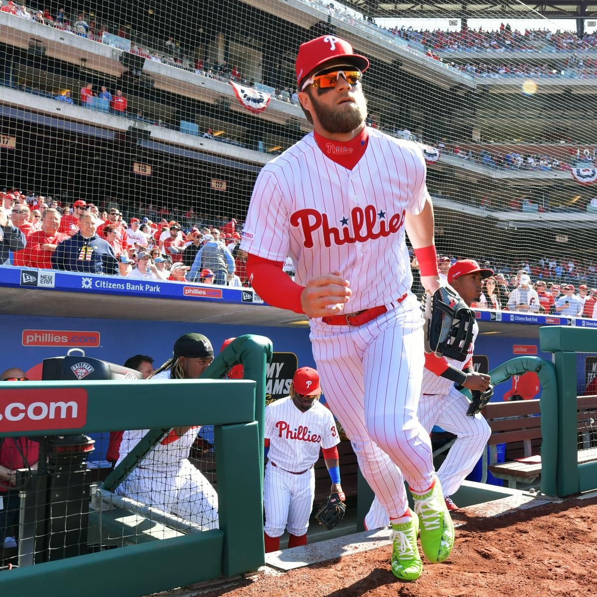 Bryce Harper S Stats Video Highlights From Phillies Debut After 330m Contract In 2020 Bryce Harper Phillies Atlanta Braves