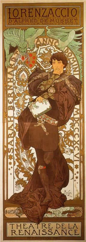 Lorenzaccio by Alphonse Mucha (1896);  Sarah Bernhardt played the male character of Lorenzo de' Medici in Alfred de Musset's Romantic tragedy of 1834. Set in 16th-century Florence, the plot tells of how Lorenzo de' Medici kills Florence's tyrant, Alessandro de' Medici, depicted by Mucha as a snaring dragon menacing the coat of arms of the city of Florence in the upper part of the poster. Bernhardt contemplates the murder, symbolised by a dagger piercing the dragon at her feet.