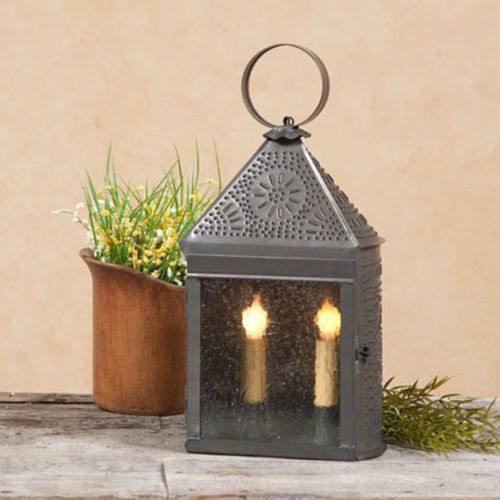 Colonial Punched Tin Lantern Dual Candle Lamp With Ornate Chisel Pattern Candle Lamp Primitive Decorating Lanterns