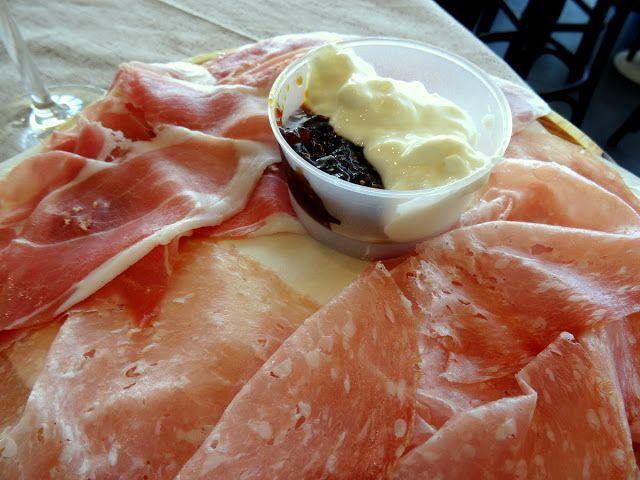 Ham and salami at La Vecchia Trattoria in Bologna Airport ...