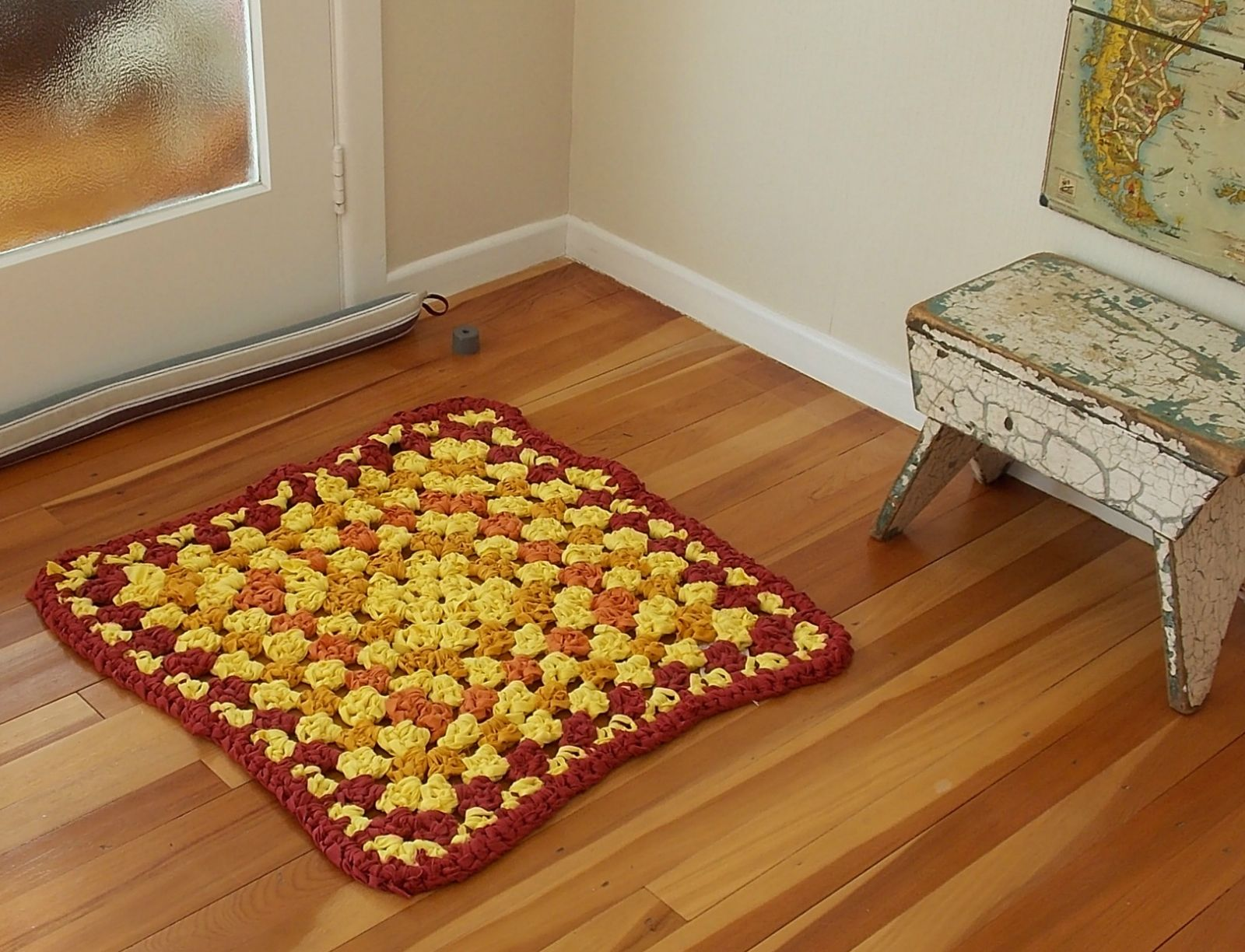 Rug - large granny square shape - crochet in yellow, mustard and maroon