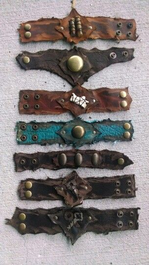 nice Bracelets made from recycled leather scraps, solid brass hardware, and found obj...