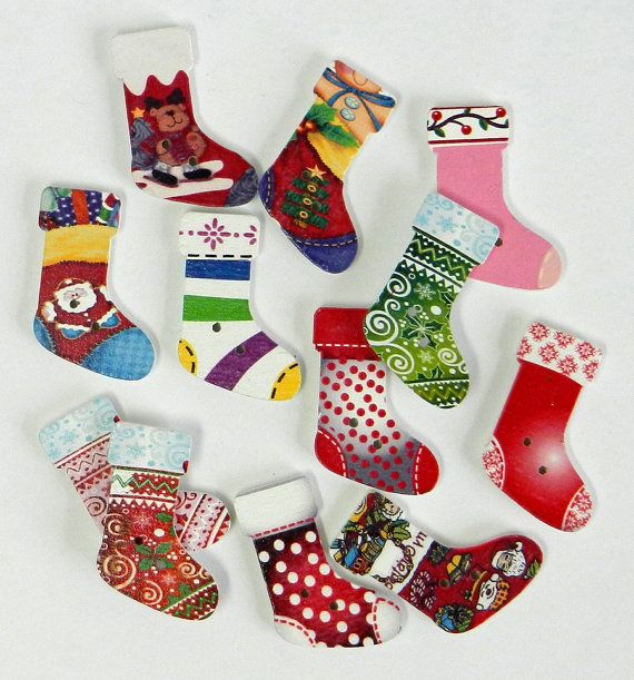 12 CHRISTMAS STOCKING wood buttons for scrap by DinkyDoodads