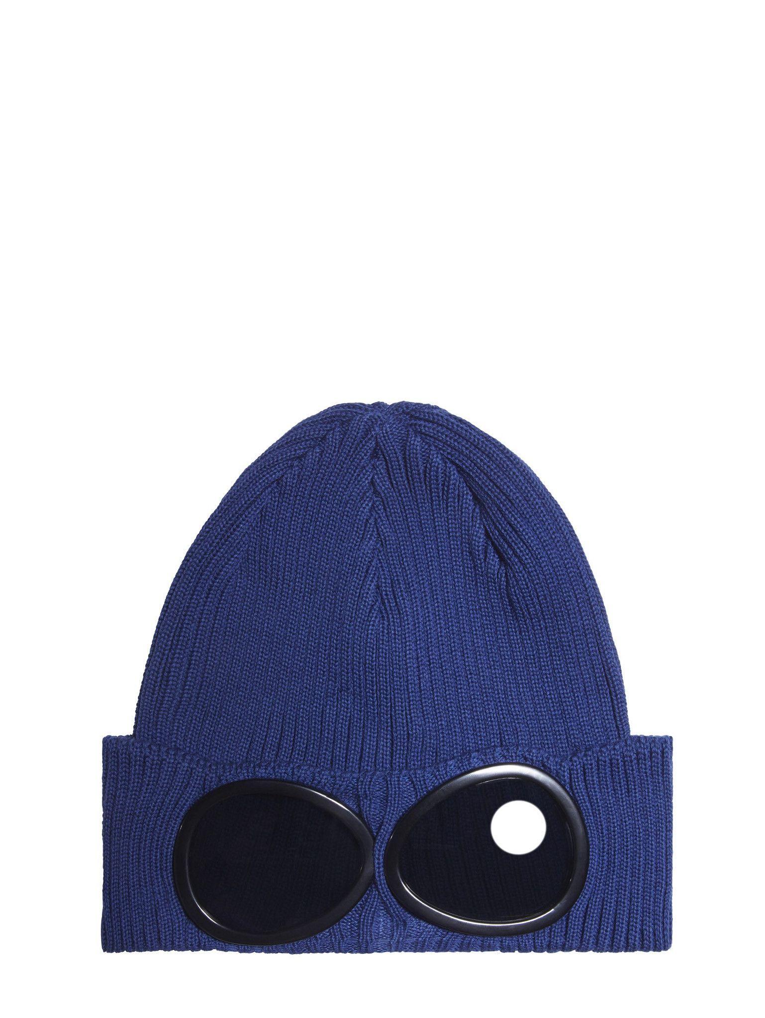 8a60fae2814 C.P. Company Cotton Goggle Beanie Hat in Blue