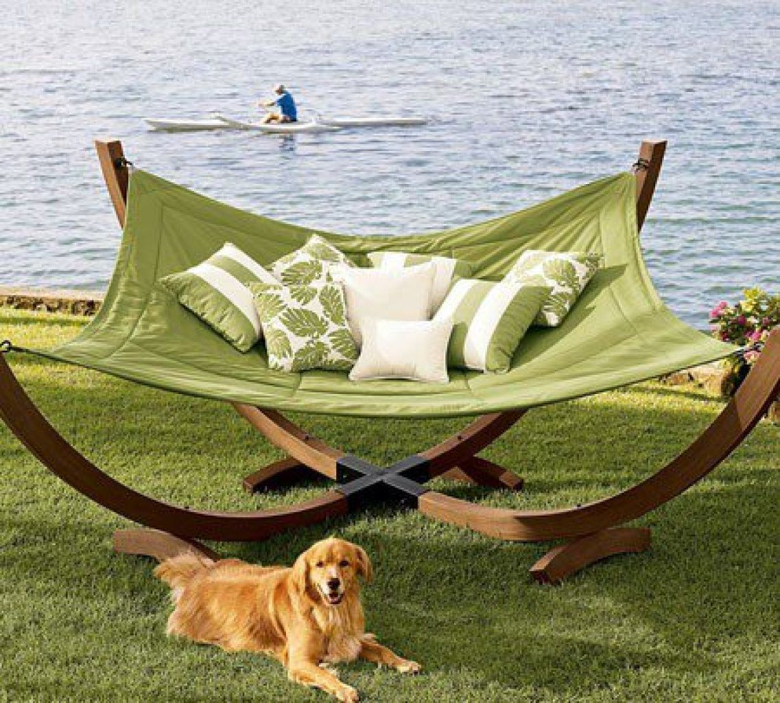 Tranquilcolored hammock fourpole hammock from pottery barn