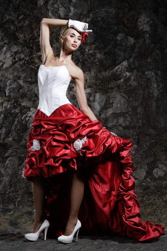 Red-White Wedding.Vokuhila Brautmode, Lang und kurz tragen ...