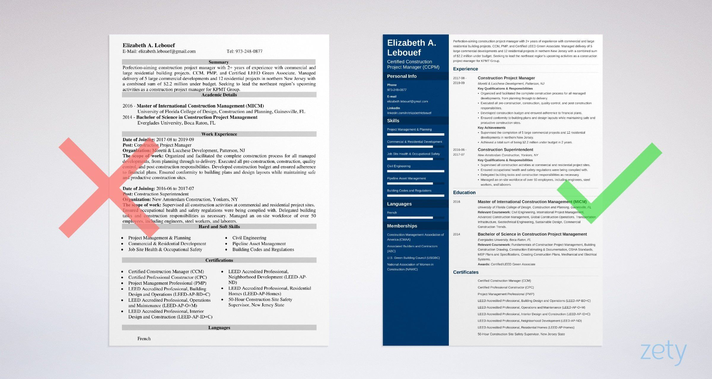 Construction project manager resume sample guide job