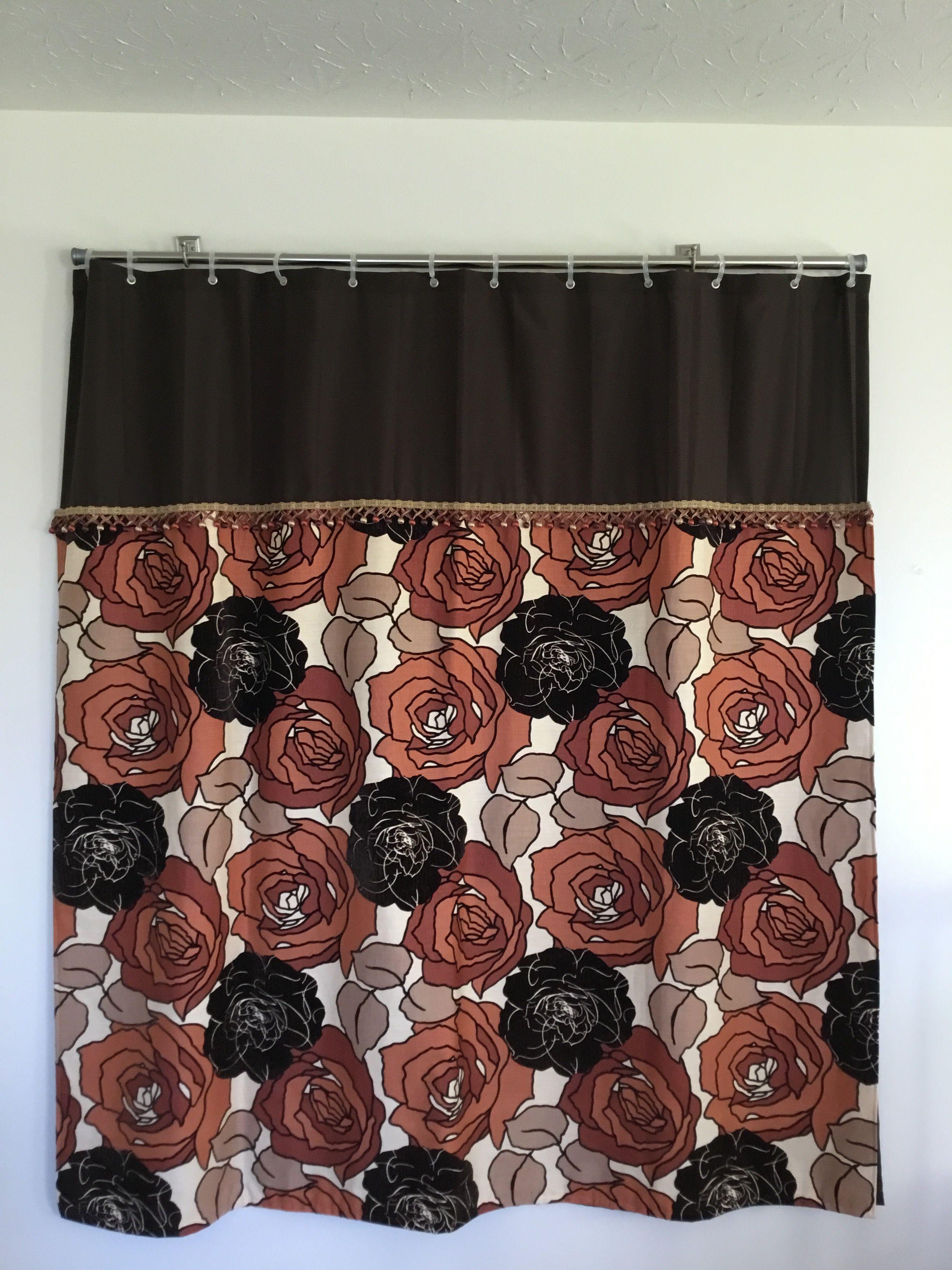 Very Unique Shower Curtain The Dark Brown On Orange Flowers Is Velvet Uniquelydesignedshowercurtainsgmail
