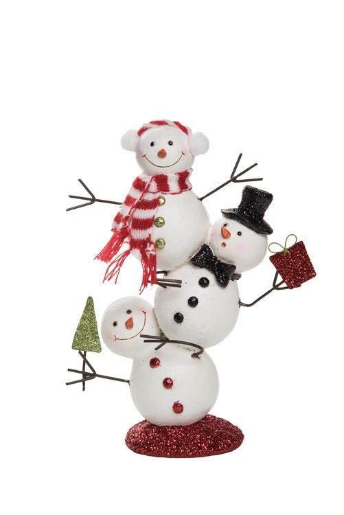 Transpac Y3638 Seasonal Decor Very Merry Silly Stacked Snowman Christmas