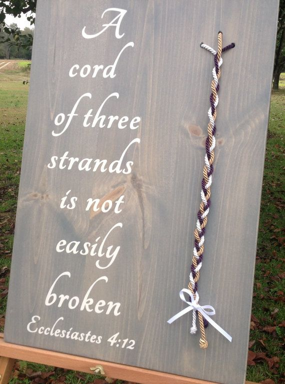 A Cord Of Three Strands Unity Colored Wedding Ceremony Alternative Symbolism S Knot Wood Sign