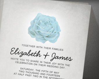 Trendy Floral White Wedding Invitation