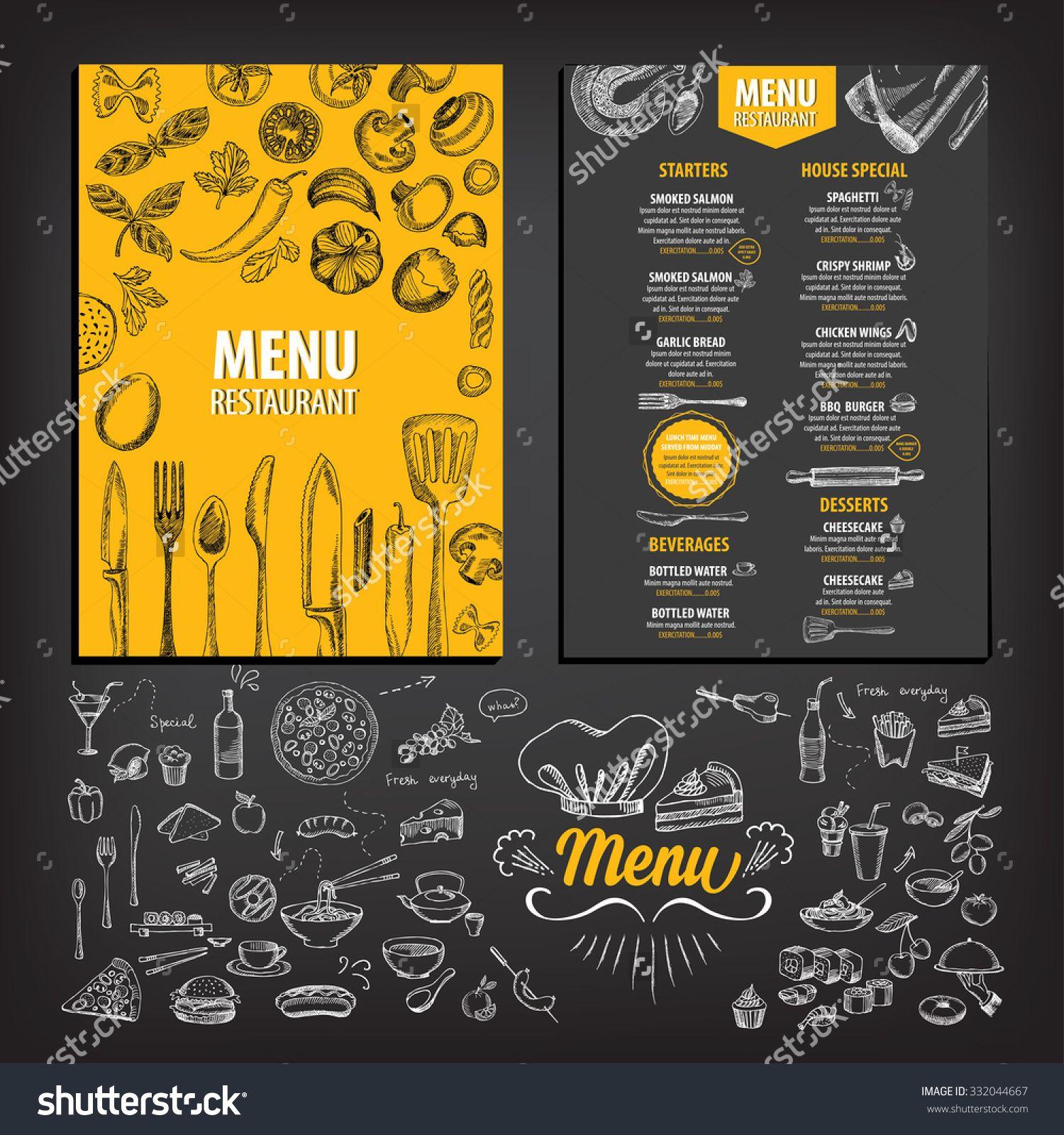 Vector restaurant brochure, menu design. Vector cafe template with ...