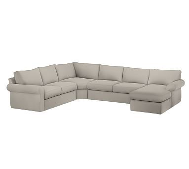 Pearce Left Arm 4-Piece Wedge Sectional Slipcover Premium Performance Chunky Basketweave Oatmeal  sc 1 st  Pinterest : 4 piece sectional slipcover - Sectionals, Sofas & Couches