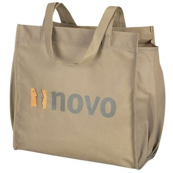 This #custom tote is made from a recyclable thermoplastic that emits less smoke and no toxins when melted down for recycling. #epromos