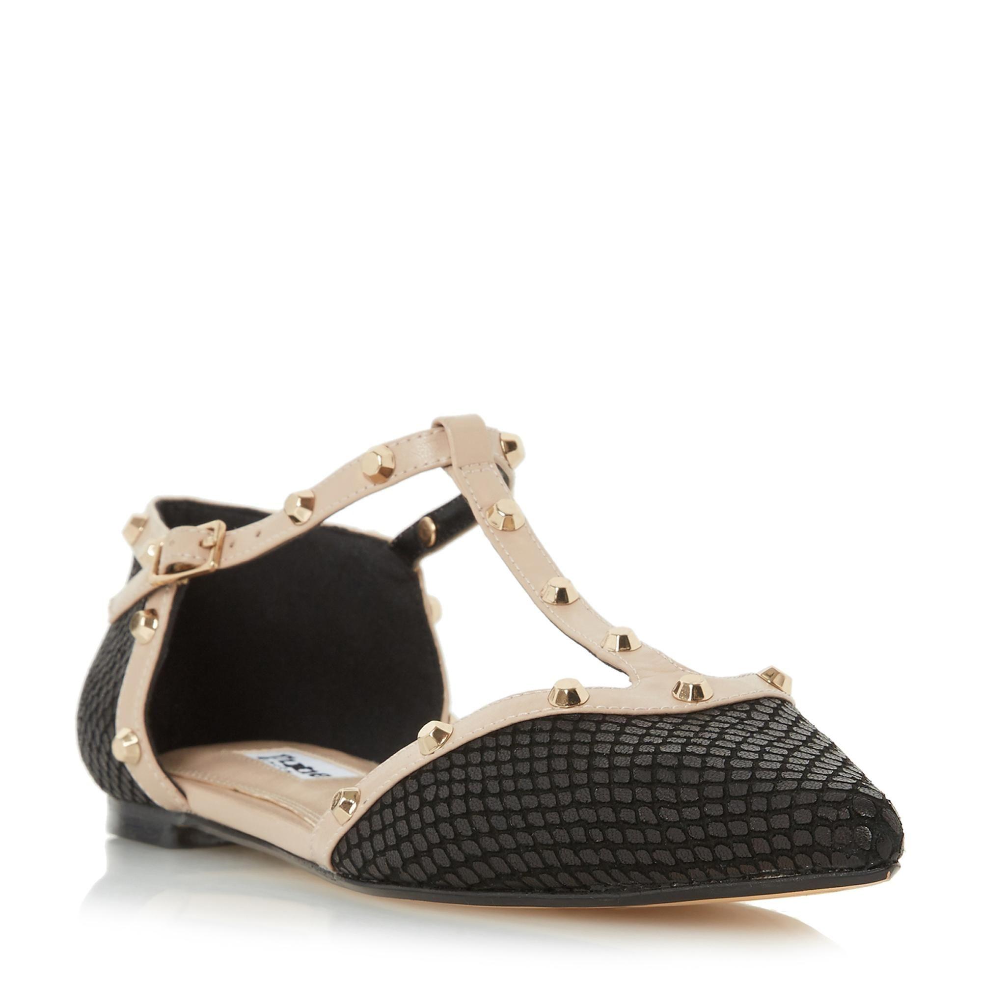 DUNE DAMEN – HETI – Flache, spitze Schuhe mit Nieten – Schwarz | Dune-Schuhe online