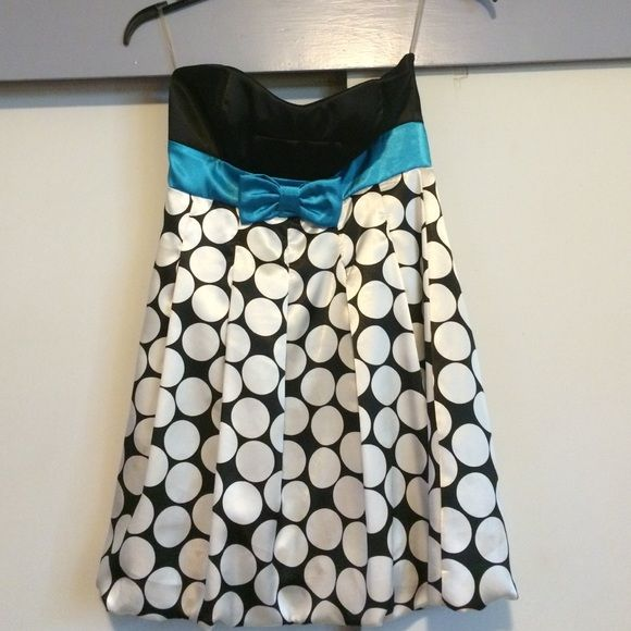 Adorable Polka Dot Strapless Dress With Teal Bow My Posh Picks