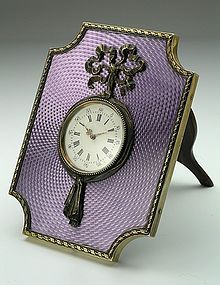 Faberge Style Antique Guilloche Enamel Table Clock