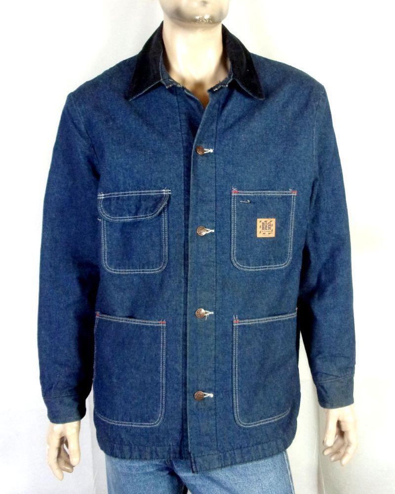 Vtg 80s Big Ben Wrangler Dark Blanket Lined Chore Coat Denim Work Jacket Usa 44 Vintage Denim 80s Fashion Shirts