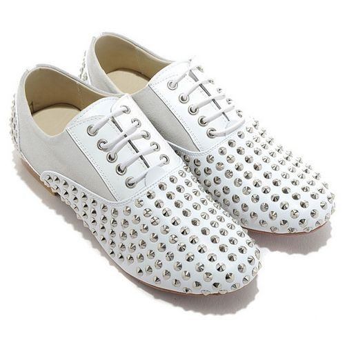 Christian Louboutin Fred Spikes Loafers White Super Deals