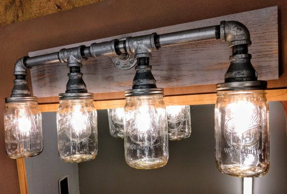 Industrial Vanity Lighting Rustic Bathroom Light Fixture Mason Jar Galvanized Grey Rustic Bathroom Lighting Rustic Bathroom Light Fixtures Industrial