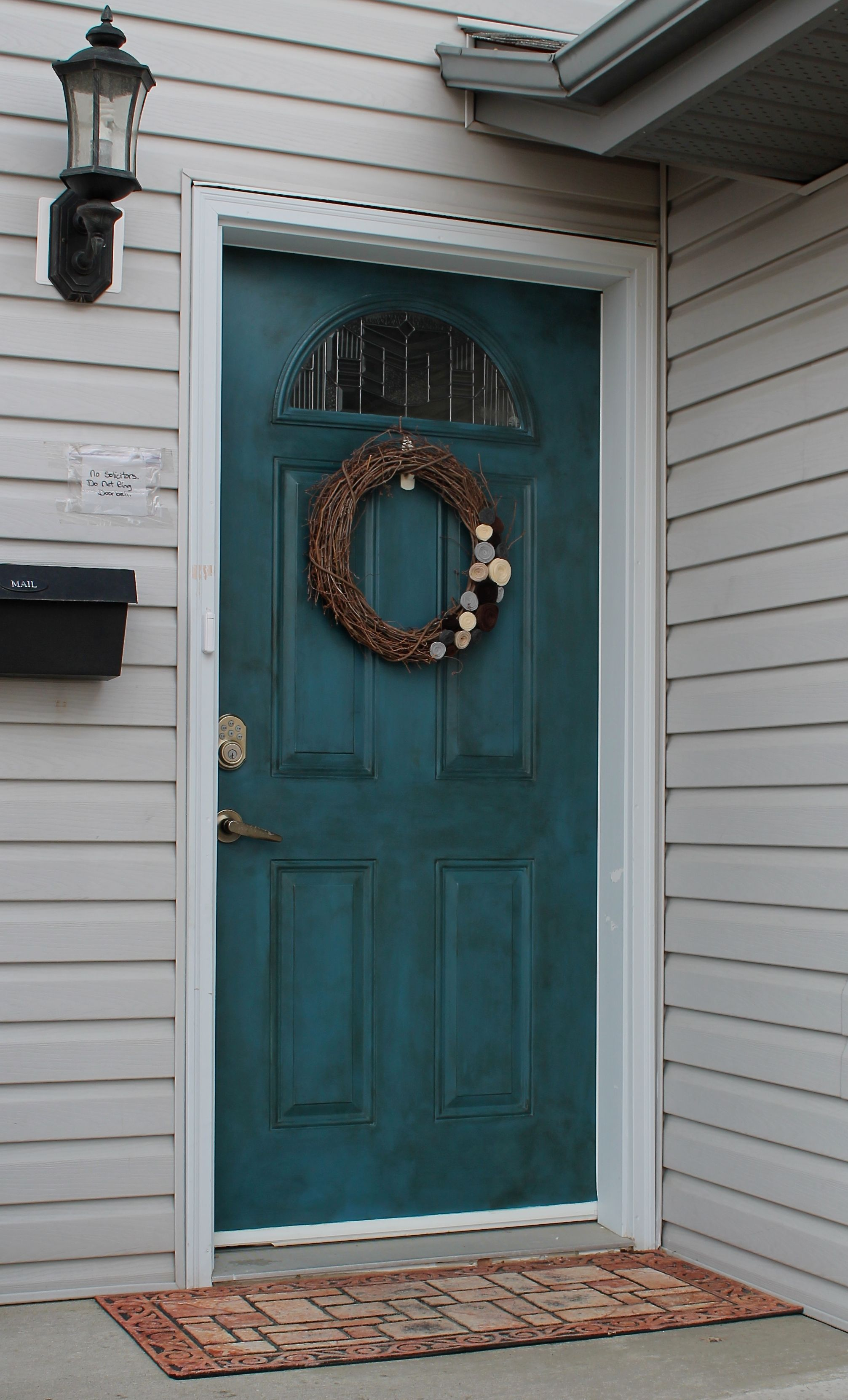 White metal door turned vintage blue done in annie sloans Dark green front door paint