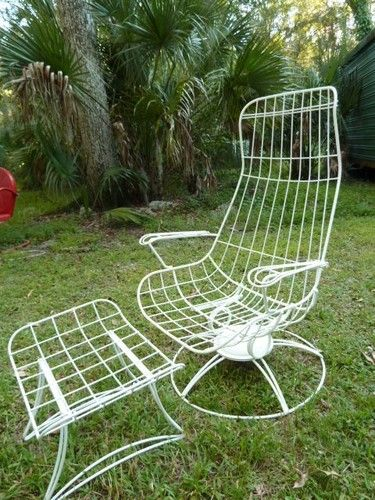 Mid Century Modern High Back Wire Patio Lounge Chair Ottoman Salterini  Eames Era