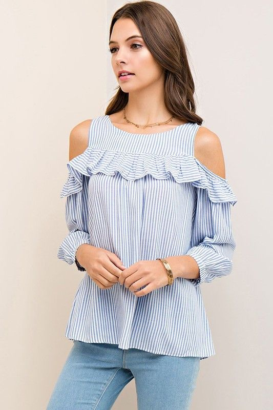 0012df6c3f3c07 RWL BOUTIQUE - Striped Open Shoulder Top - Ruffles with Love - RWL STRIPED  OPEN SHOULDER TOP WITH RUFFLE TRIMAND BACK KEYHOLE BUTTON CLOSURE 100% RAYON
