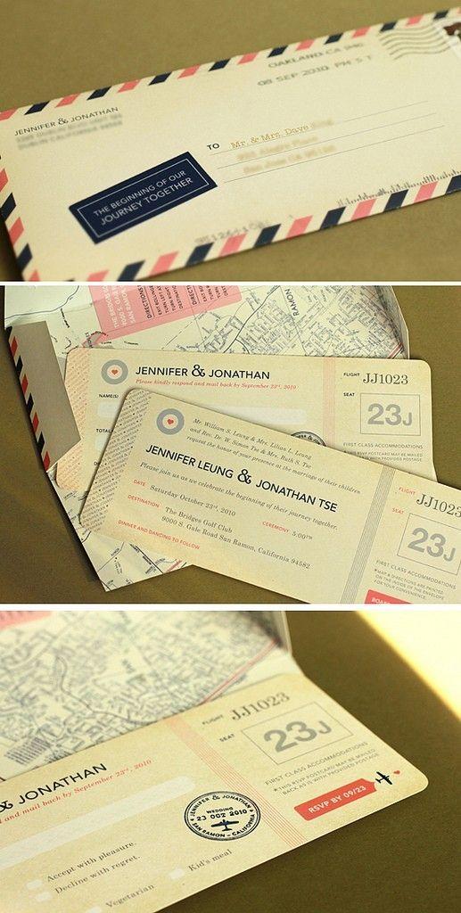 Travel-themed wedding invites