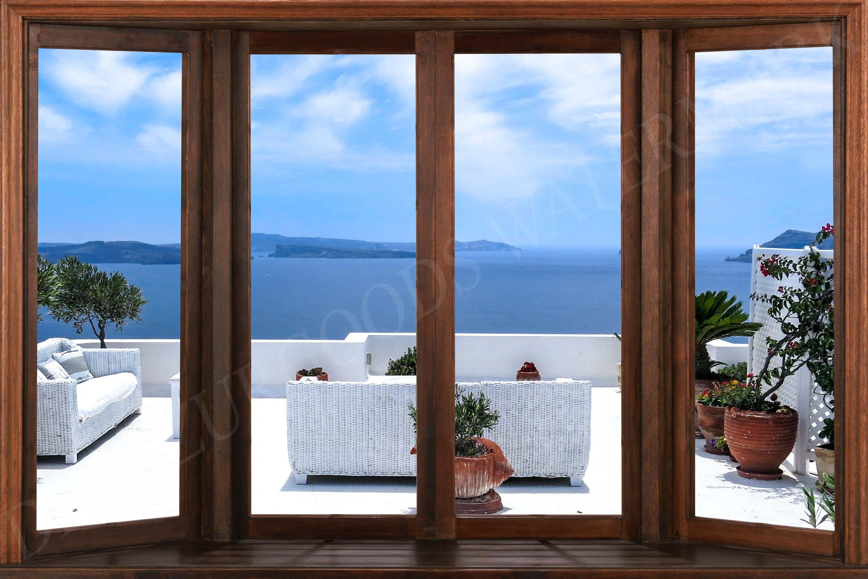 Greek Sea Window View Wallpaper Peel And Stick Etsy View Wallpaper Window View Windows