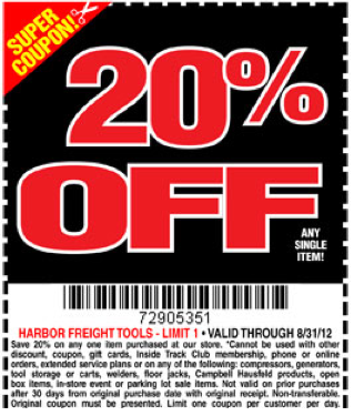 20 off Coupon for Harbor Freight Tools + FREE Flashlight