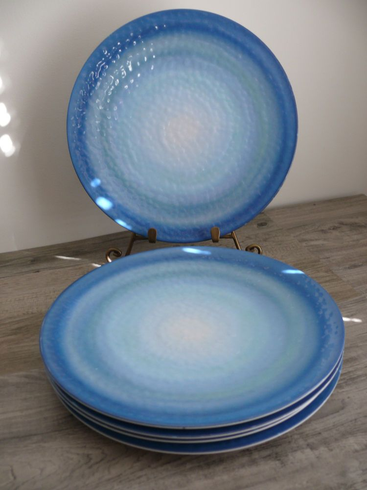 Five Coastal Melamine Plates By Target Beautiful Swirling Blue Pattern Beach