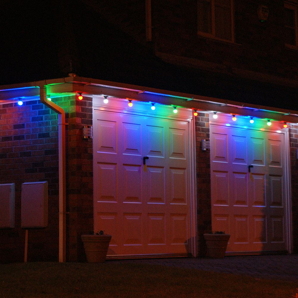 this is what reminds you of when houses are adorned with big bulb the multi colour led lamps against the white of the garage looks amazing