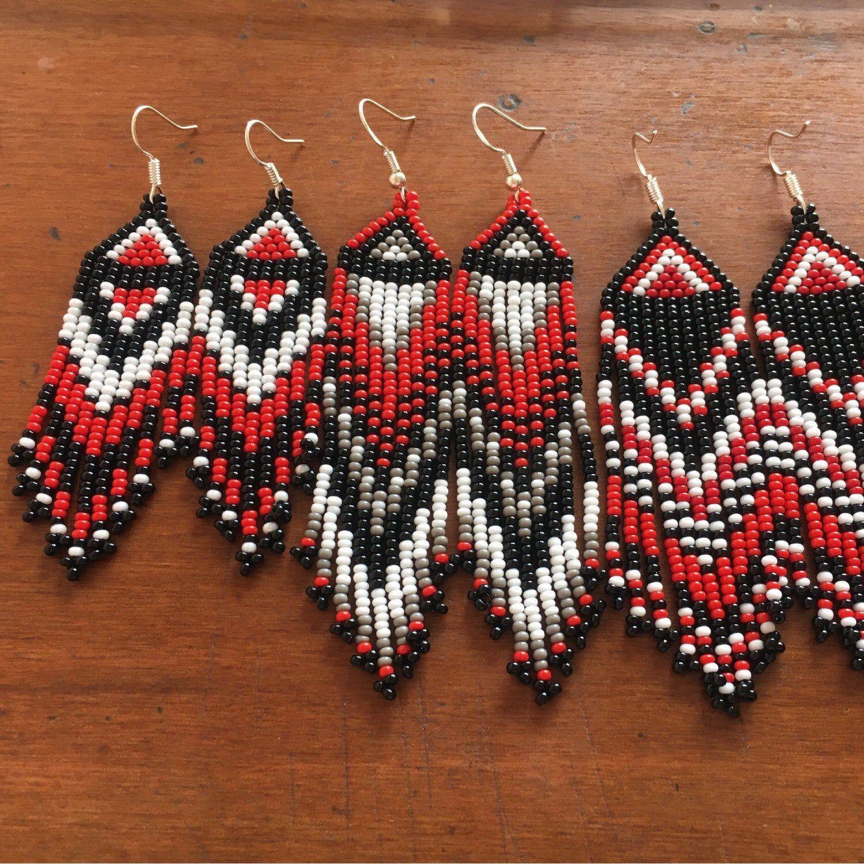 Beaded earrings dangler earrings red earrings