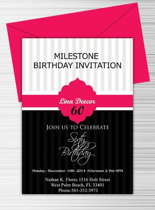 milestone birthday invitation template free download printable