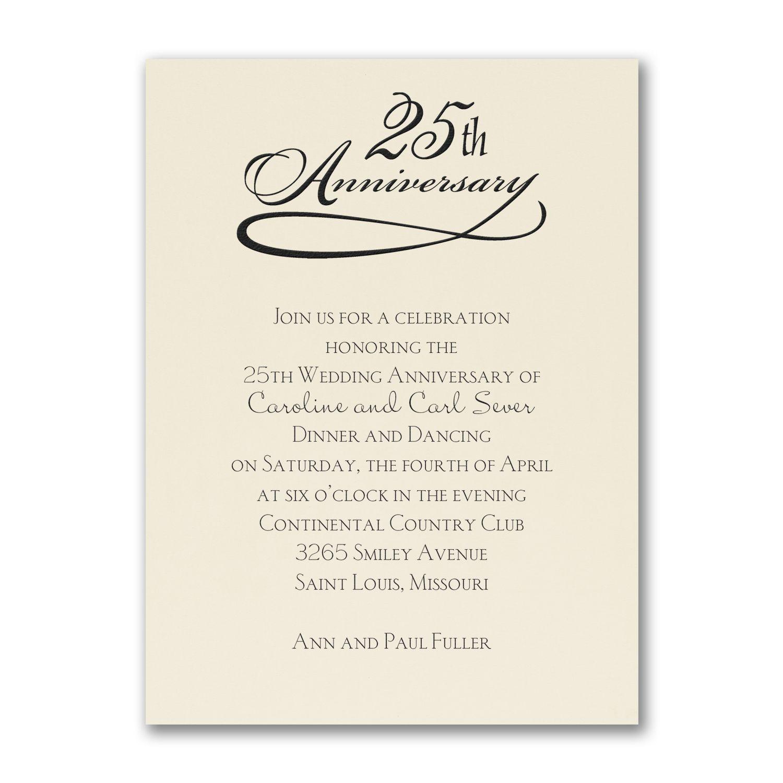 25 Years Celebration Invitation Ecru Anniversary Invitations Wedding Renewal Invitations 25th Wedding Anniversary Invitations