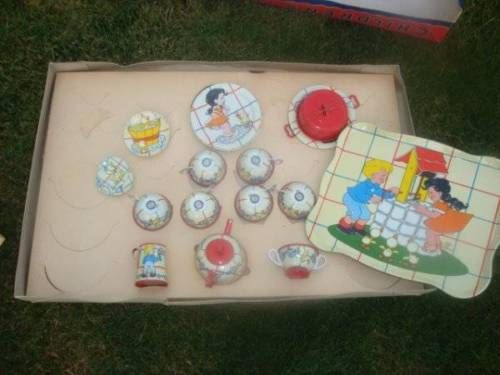 Vtg Ohio Art Tin Litho Toy Tea Set Elaine Hileman Ducky Bath Time Unused in Box   eBay