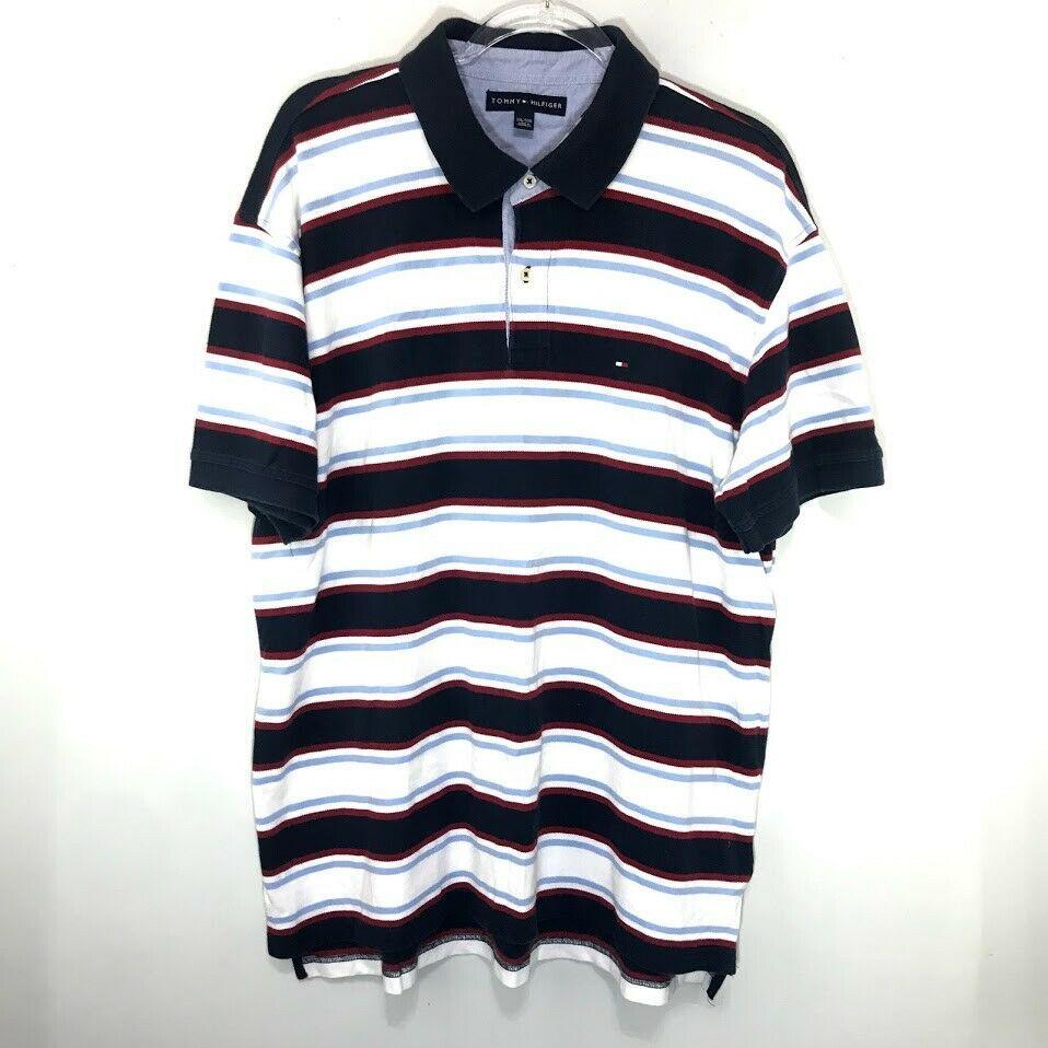 0b1ee75b Tommy Hilfiger Mens Polo Shirt Vintage Red Blue Stripe Flag Logo Size XXL  Q61 | eBay