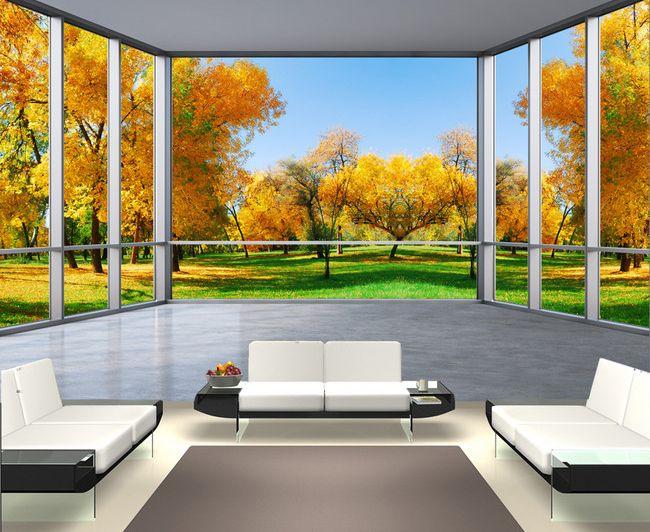 Papier peint trompe lœil 3d tapisserie paysage poster géant arbre dautomne
