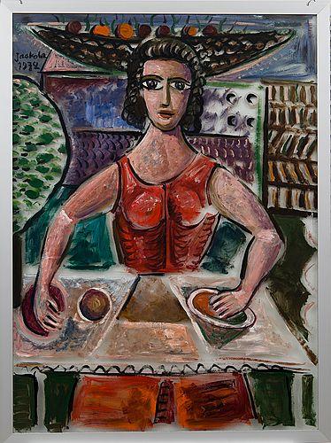Alpo Jaakola: Nainen, 1972, öljy lasille, 96x70,5 cm- Bukowskis F179