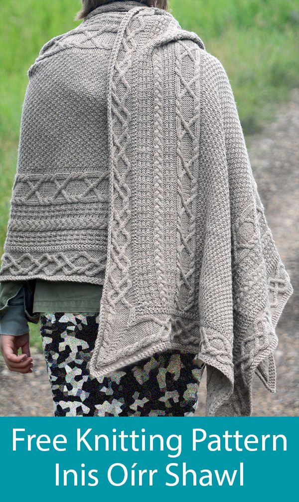 Free Knitting Pattern for Inis Oírr Shawl #freeknittingpatterns