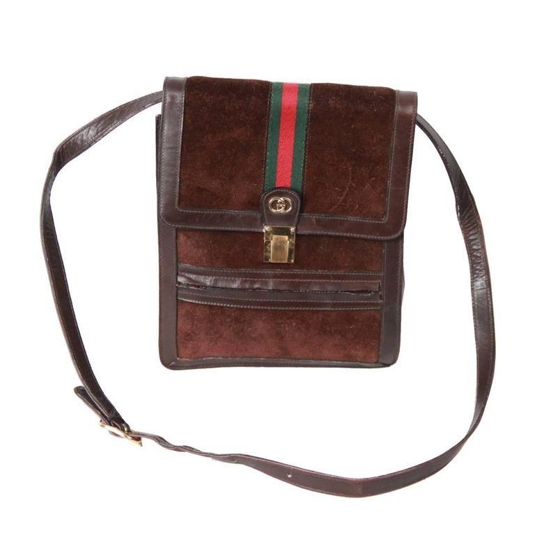 f90fc4c245d GUCCI VINTAGE Brown Suede CROSSBODY BAG Men Purse w  Stripes 1975-99 ...