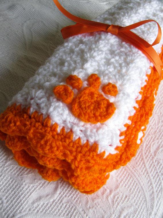 Unique Baby Gift | Clemson Tiger Baby Blanket Crochet ...