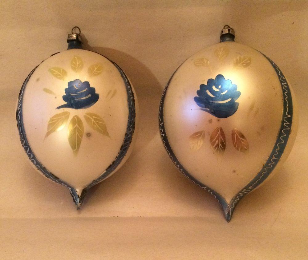 Large Mercury Glass Christmas Ball Bulb Ornaments Poland Vintage Set of 2