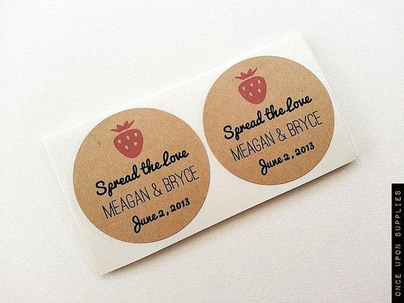 Strawberry jam wedding mason jar labels stickers wedding favors thank you gifts once upon supplies