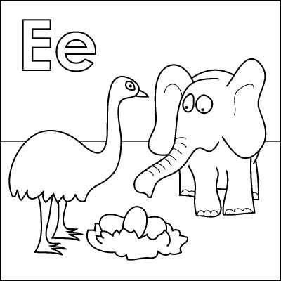 Free Letter E Coloring Page Alphabet Pages To Help Kids Learn Their Letters Elephant Emu And Eggs All Begin With The