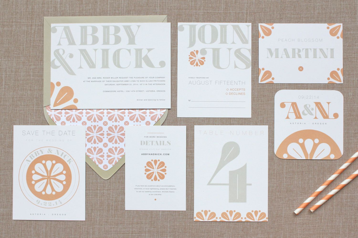 Clean type wedding invitation suite by little arrow wedding