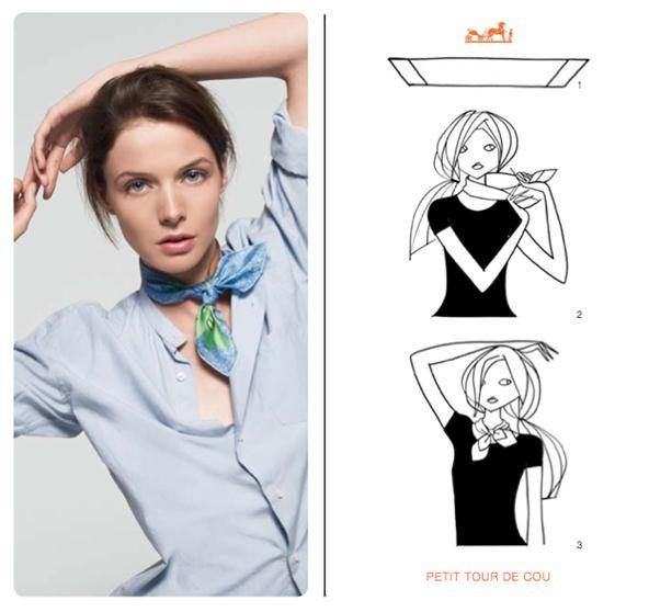 7a1c9d99dce4 How to Knot a Hermès Scarf in 21 Different Ways in 2019   Scarf ...